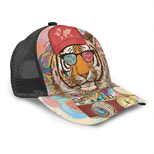 Gorra de béisbol Unisex con diseño de Tigre Hipster con Gafas de Sol