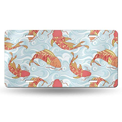 BRIGHT JUNAY Cool Metal License Plate,Vintage Japanese Colorful Fish in The Sea Waves Hand Drawing Koi Japan Car Front License Plate 6 Inch X 12 Inch