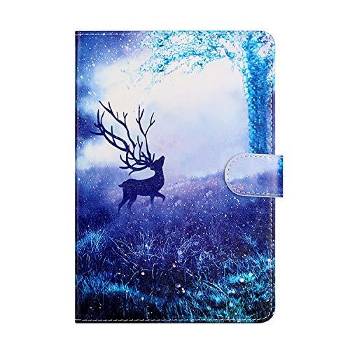 Miagon Tablet Hülle für iPad 10.2 2019/ iPad Pro 10.5/ iPad Air 3,PU Leder Flip Brieftasche Case mit Standfunktion Kartenschlitz Stoßfest Cover,Baum Elch