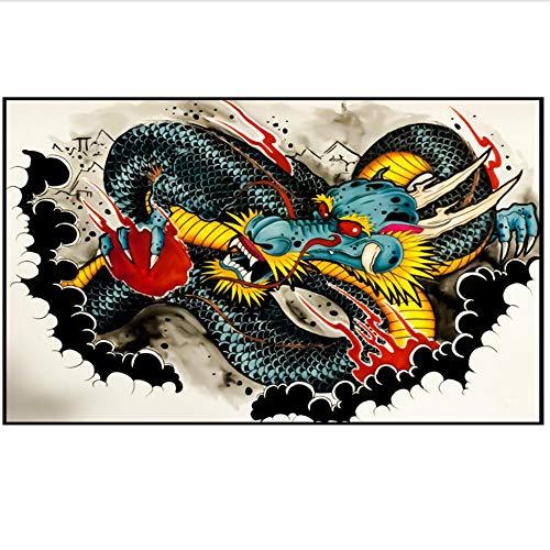Bzdmly Abstract canvas schilderij muurkunst afbeelding graffiti draak canvas kunstdruk poster muur decoratie 60x80 cm/23.6