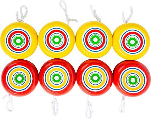 Small Foot 2935 Jo gelb & rot, aus Holz, Spielklassiker für motorische Fähigkeit, 8-teilig JoJo, Spielzeug, Gelb/rot