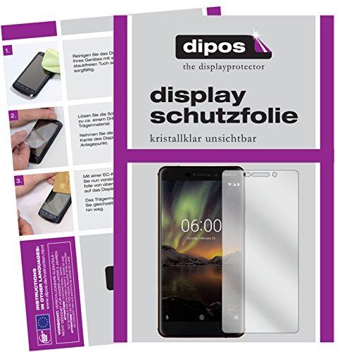 dipos I 2X Schutzfolie klar kompatibel mit Nokia 6.1 2018 Folie Bildschirmschutzfolie
