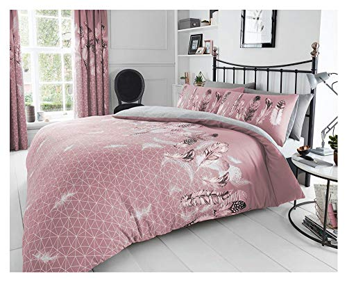 Gaveno Cavailia Super Soft Feathers Duvet Cover, Poly-Cotton Luxury Quilt Set with Matching Pillowcases, Pink, Double Size Bedding, 50% Polyester & 50