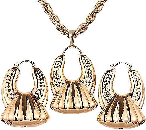 Collar Pendientes de aro de color oro nigeriano Conjuntos de colgantes Encantos de joyería de boda Color dorado Mujeres africanas Longitud de la joyería 45Cm para mujeres Hombres Regalo para mujeres y
