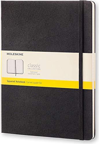 Moleskine - Cuaderno Clásico con Páginas Cuadriculada, Tapa Dura y Goma Elástica, Color Negro, Tamaño Extra Grande 19 x 25 cm, 192 Páginas