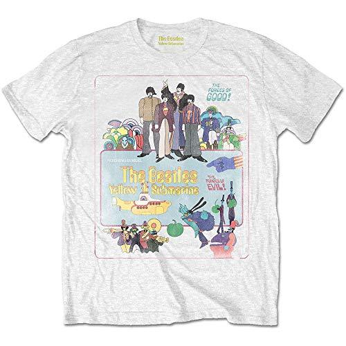 T-Shirt (Unisex-Xxl) Yellow Submarine Vintage Movie Poster (Bianco)