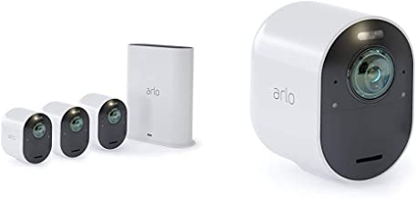 Arlo Ultra 4K UHD & HDR - 4 Wire-Free Indoor/Outdoor Security Cameras with Color Night Vision, 180° View, 2-way Audio, Spotlight, Siren, Works with Alexa