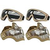 AOUTACC Juego de máscara y gafas de Airsoft, máscara de malla de acero de media cara y gafas para CS/caza/paintball/Shooting (2 unidades de calavera bronceada)