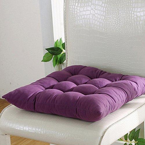 FAVOLOOK Cojín cuadrado sólido para asiento de silla con cordón para sofá de coche, oficina, tatami, decoración, 9 colores, Morado oscuro, Tama?o libre-E001