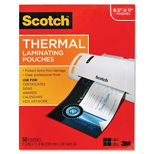Price comparison product image 3M TP3854-50 Scotch Thermal Laminating Pouch - Letter - 8.50 inch Width x 11 inch Length9 inch x 11.5 inch Overall Size - 50 / Pack - Clear