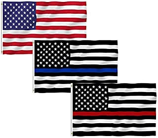 USA Flag Thin Blue Line Thin Red Line Flag, 3 Pack 3x5 Ft 100% Polyester US Stars and Stripes America Thin Blue Line Thin Red Line Flags Bright Color American Flags for Christmas and Halloween