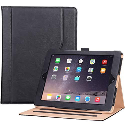 ProCase Funda PU iPad 2 3 4 (Modelo Viejo) - Carcasa Folio con Soporte Múltiple Ángulo/Portalápiz/Activación Suspensión Automática para iPad 2/iPad 3.ª/iPad 4ª Generación –Negro