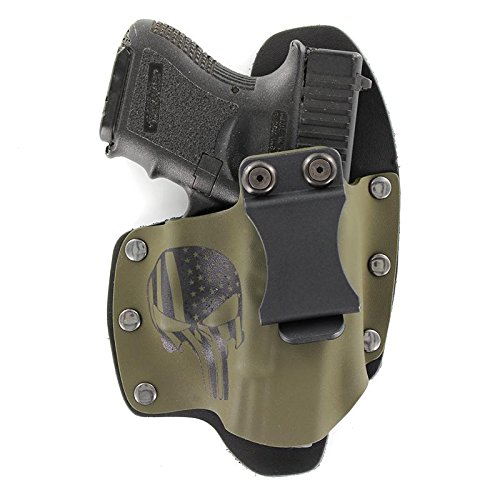Infused Kydex USA Punisher OD Green IWB Hybrid Concealed Carry Holster (Right-Hand, Glock 36)