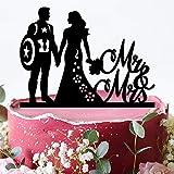 Captain America Wedding Cake Topper - Custom Acrylic Cake Decorations - Mr and Mrs Cake Topper - Custom Cake Topper - Super Hero Cake Topper - Captain America Silhouette