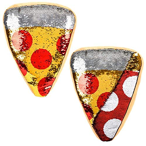 Forest & Twelfth Pizza Slice Throw Pillow, Reversible Sequin, Beautifully Colored Plush Pepperoni Pizza Slice Shaped Cushion
