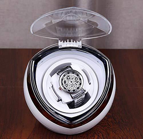 STTC Estuche Giratorio para Relojes, Movimiento automático, Motor silencioso, Movimiento rotativo, Diseño Minimalista y Retroiluminación de Color, Negro/Blanco,Blanco