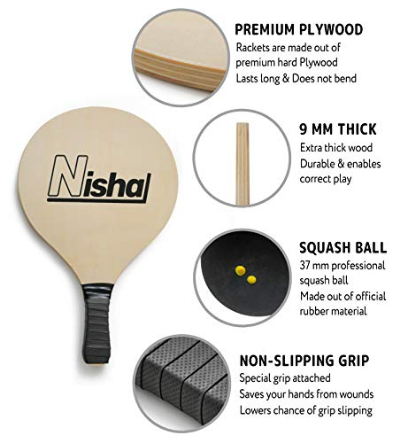 Nisha Paddle Ball Beach Games | Premium Set of 2 Smash Rackets, 2 Balls & Free Tennis Grips | Official Smashball Included | Thick Plastic Case
