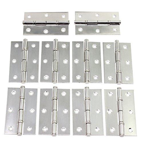 WiMas 10 STÜCKE 3 Zoll Klapp Hinten Scharniere Edelstahl Wohnmöbel Hardware Schrank Scharniere mit 60 STÜCKE Schrauben