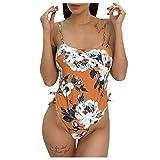 Bikini de playa para mujer con estampado floral de una pieza para control de barriga, correa de tiras todo en uno