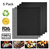 CANDYWE 5 Pack BBQ Grill & Mesh Mats,100% Non-Stick 3 Grill Mats and 2 Mesh Mats for Steaks,Vegetables, Fish, Shrimp,FDA-Approved, Reusable and Easy to Clean,15.75 x 13 Inch