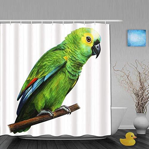 N\A Duschvorhang, grüner brasilianischer Papagei, Badezimmerdekor aus Stoffgewebe mit Plastikhaken