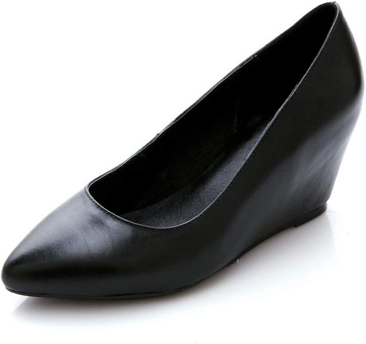 AN Womens Wedges Pointed-Toe Cow Leather Pumps shoes DGU00883