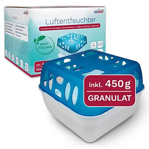 airself Luftentfeuchter mit Granulat, Box inkl. 450 g Granulat im Vliesbeutel, für bis zu 40 m³, hilft gegen Feuchtigkeit, Kondenswasser, Schimmel