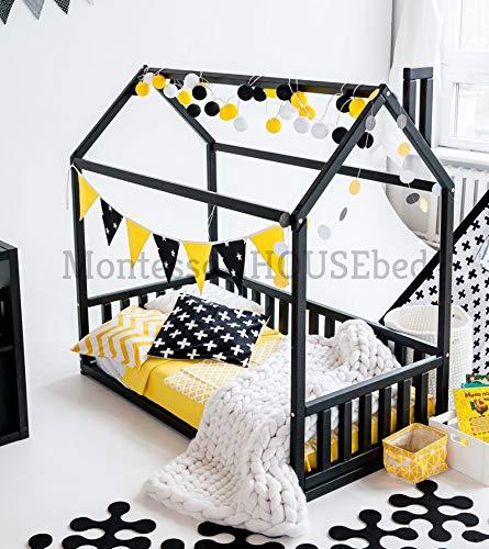 Cama Infantil Tipo Montessori, Cama montessori color blanco, Cama Montessori Color Rosa (Gris, 190x90cm) (Producto para bebé)