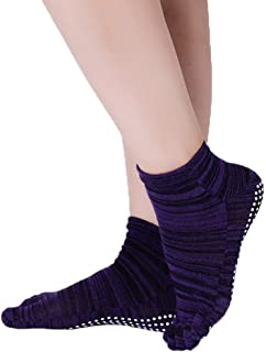 Xiang Ru Cotton Non-Slip Yoga Socks with Anti-skid Grips for Women