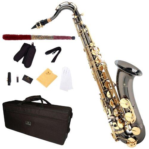 Cecilio TS-280BNG - Kit de saxofón tenor (para nivel principiante), color negro y dorado
