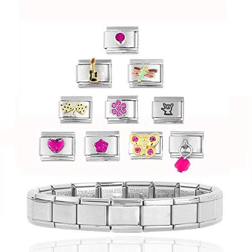 AKKi Italian Charms Armband Classic glieder Italy Charm,Silber Gold Edelstahl Links Kult modele Blume Tiere Herz f/ür Basisarmband Gl/änzend matt Farbe kompatibel mit Original Strass Herz in rot