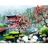 5D DIY diamante pintura paisaje jardín chino arquitectura bordado conjunto mosaico arte pintura A11 45x60cm
