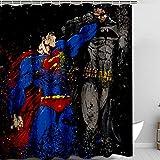 DRAGON VINES Duschvorhang mit Haken Bauernhaus Duschvorhang Batman vs Superman Tapete 4K für Heimdekoration 183 x 198 cm