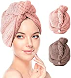 2 Pack Hair Towel Wrap,Hair Drying Towel with Button, Microfibre Hair Towel, Dry