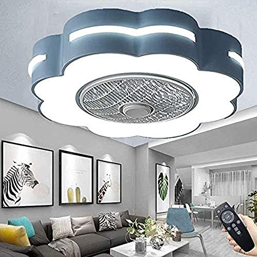 SaixnYz Invisible Ventiladores de techo con lámpara Modern 46W LED Regulable Lámparas de techo para sala de estar Dormitorio Habitación infantil Azul