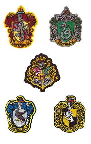 Set von 5 Harry Potter Bügelbilder - Iron on Patch - Bügeleisen Patches zum Anpassen Ihrer Kleidung oder Taschen - Gryffindor, Serpentar