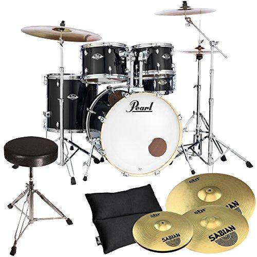 Pearl Export Schlagzeug EXX705NBR/C31 Black + Sabian Becken + keepdrum Hocker