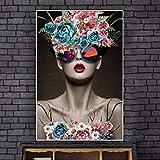 ganlanshu Peinture sans cadreMode Belle Femme Portrait et Fleurs sur Toile Art Mur Affiche décor à la maison60X90 cm