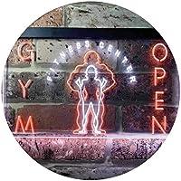Gym Fitness Center Open Dual Color LED看板 ネオンプレート サイン 標識 白色 + オレンジ色 400 x 300mm st6s43-i0321-wo