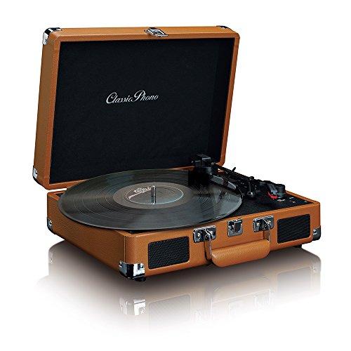 Classic Phono TT-10 Plattenspieler - Retro Plattenspieler - Riemenantrieb - 33 U/min, 45 U/min, 75 U/min - 2 x 1,5 Watt RMS - braun