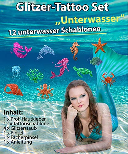 Glitzer Tattoo SET Kinder Unterwasser mit Hautkleber, 2 Pinsel,4 Glitzer,12 Schablonen Meerjungfrau