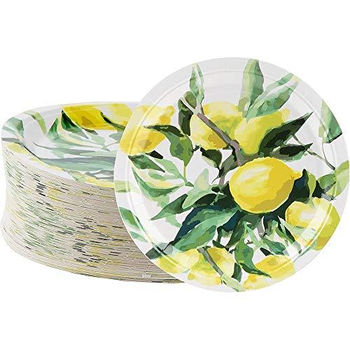 Piatti usa e getta – 80 piatti di carta, limone, forniture per antipasto, pranzo, cena e dessert, brunch e feste in giardino, 22,5 x 22,5 cm