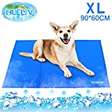 HueLiv Dog Cooling Mat, Large Pet Cool Mat for Bed, Dog Cat Ice Mat with Self Cooling Gel, Non-Toxic Activated Gel Cooling Pad, Great for Dogs Cats to Stay Cool This Summer, Blue XL 90x60cm(36x24IN)