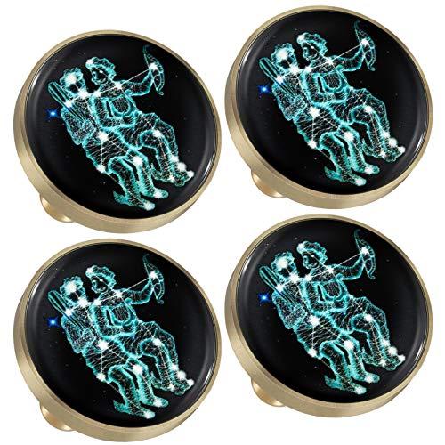 mookaitedecor Juego de 4 pomos de cristal brillante de constelación con tornillos, signo del zodiaco, decoración para muebles, cajones, armarios, tiradores de botones, gemelos.