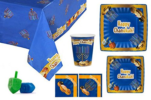 Hanukkah Party Set. 20 Disposable 10.5 in Paper Plates, 7.5 in Plates Cups and Napkins for Your Chanukah Table. and 3 Dreidels. Tableware Goods Make a Great Gift. (Blue Design)