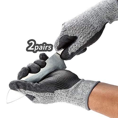 Vgo 2 Paare Schnittfeste Arbeitshandschuhe, EN388-5. Niveau, Handschutz für Schneiden (9/L, Grau, SK2131)