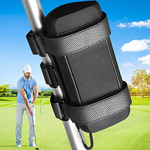 speaker mount for golf carts TOOVREN Bluetooth Speaker Mount for Bike Golf Cart Railing Boat, Speaker/Water Bottle Holder for Bike, Golf Cart Accessories,Adjustable Strap Fits Most Bluetooth Speakers Attachment Accessory Bar Rail