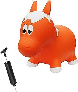 Farm Hoppers Award Winning Inflatable Toddler Safe Bouncing Orange Horse Plus Pump
