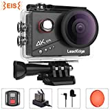 LeadEdge Action Camera 4K 20MP EIS Anti-Shake External Microphone Red Filter 2.0 IPS
