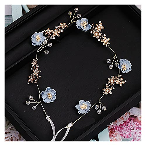 Hermosa flor azul rosa hecha a mano hilo joyas flexible suave cadena...